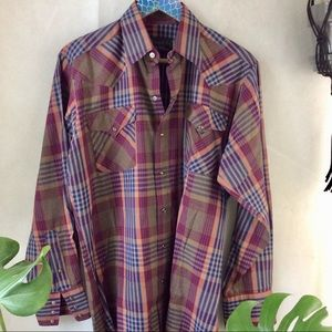 Panhandle Slim Maroon Tan Plaid Snap Button Up S